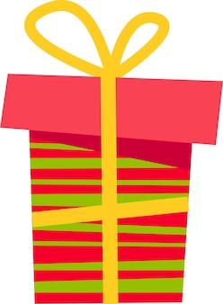 Eine rosa geschenkbox mit grünem streifen und gelber schleife für alle feiertage