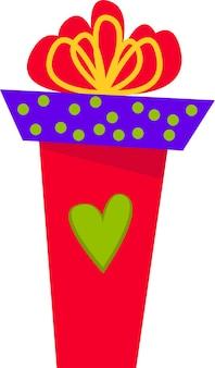 Eine rote geschenkbox mit großer schleife für alle feiertage im flachen stil eine reihe verschiedener boxen auf weißem