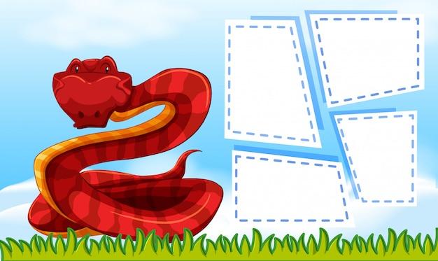 Eine rote schlange auf leere notiz