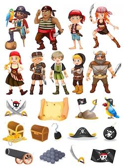 Eine sammlung aller dinge piraten und wikinger