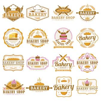 Eine sammlung der bäckereilogoschablone, bäckereishopemblemsatz, weinleseretrostillogosatz.