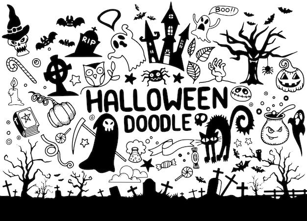 Eine sammlung hand gezeichnete halloween-elemente