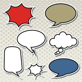 Eine sammlung komischer spracheluftblasen