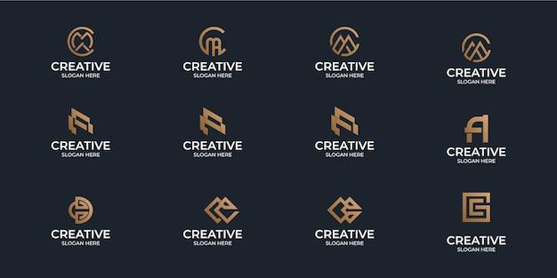 Eine sammlung minimalistischer flat-az-monogramm-logos