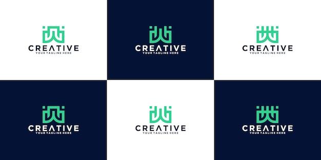 Eine sammlung moderner und einfacher buchstaben-w-monogramm-logos