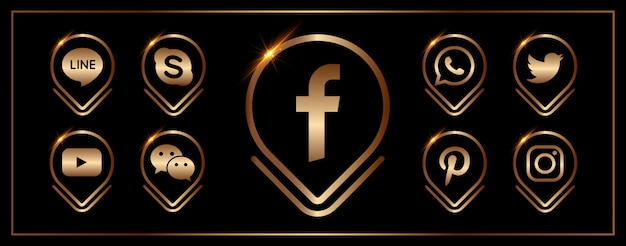 Eine sammlung populärer social media-ikonen