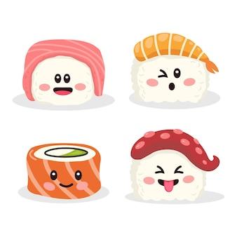 Eine sammlung verschiedener formen von japanischem sushi
