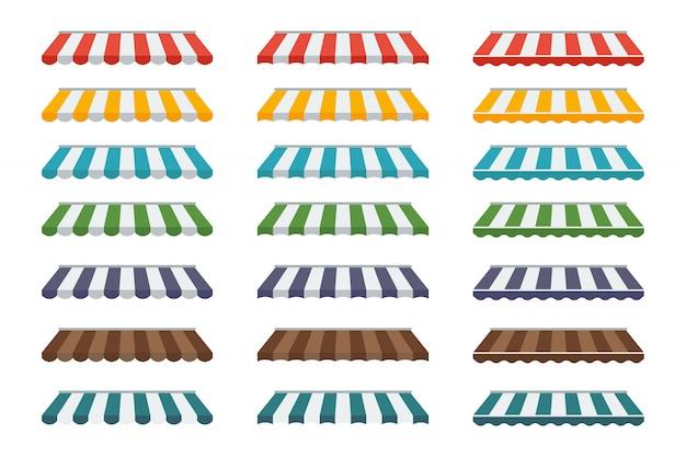 Eine sammlung verschiedener straßenmarkisen für läden und kaffeehäuser.