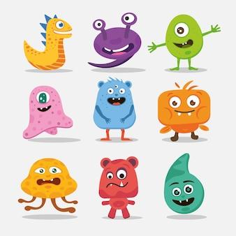 Eine sammlung verschiedener süßer monster.