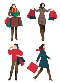 Eine sammlung von aktivitäten einer frau, die einkauft, wie das mitbringen der papiertüte, der geschenkbox und des haltens einer kreditkarte.