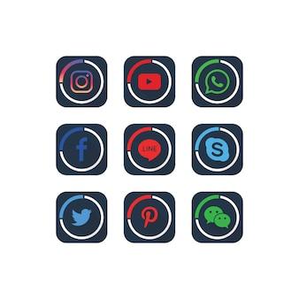 Eine sammlung von beliebten social media icons vorlage