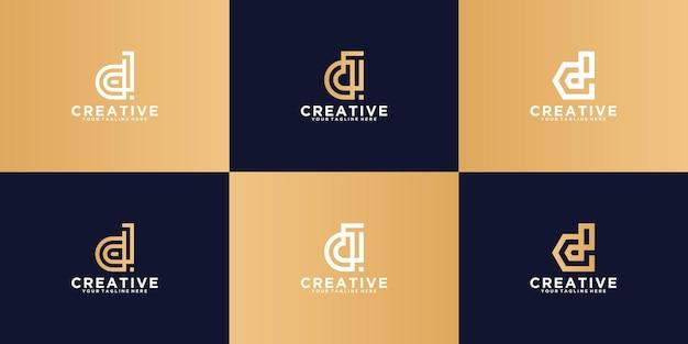 Eine sammlung von buchstaben-d-logos mit einem modernen, minimalistischen linienstil