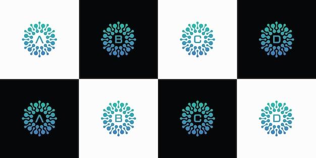 Eine sammlung von buchstaben-logo-designs mit dem konzept der punktmoleküle atome