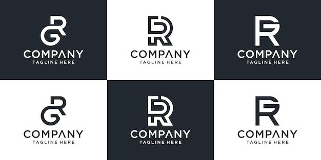 Eine sammlung von buchstaben-rg-logo-designs