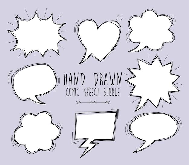 Eine sammlung von comic-sprechblasen comic-sprechblasen-doodle-set