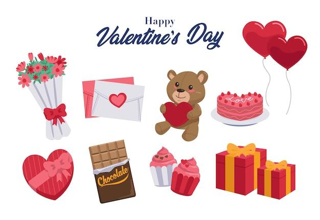Eine sammlung von geschenken, die oft zum valentinstag gegeben werden