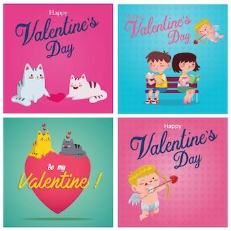 Eine sammlung von grafischen ornamenten und illustrationen wie amor, auto und ein paar, um den valentinstag zu begrüßen
