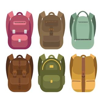Eine sammlung von icons von rucksäcken.