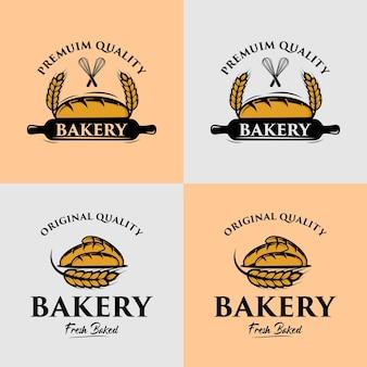 Eine sammlung von logo-designvorlagen für bäckereien
