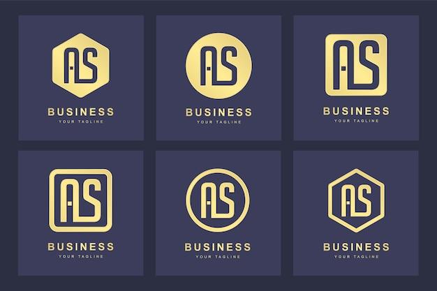 Eine sammlung von logo-initialen buchstabe as as gold mit mehreren versionen