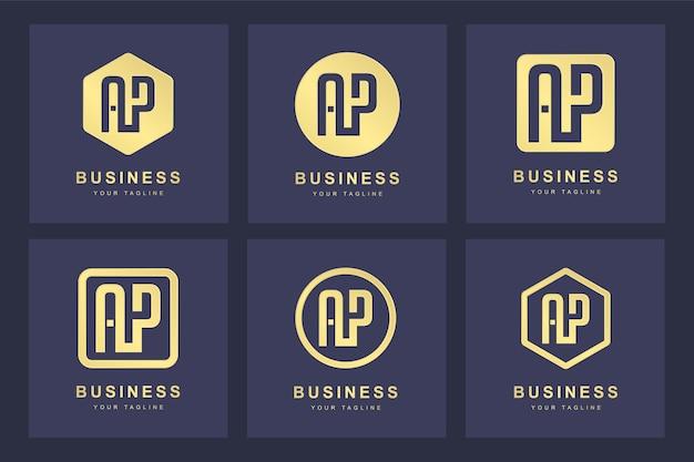 Eine sammlung von logo-initialen buchstaben ap ap gold mit mehreren versionen