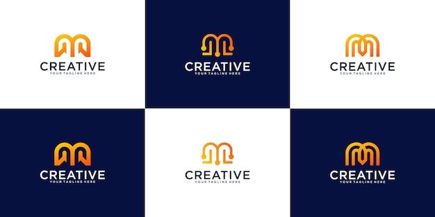 Eine sammlung von logodesign-inspirationen, die buchstabe m-technologie