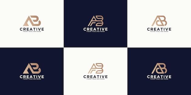 Eine sammlung von logodesign-inspirationen für den buchstaben ab, modern, minimalistisch und luxuriös