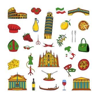 Eine sammlung von objekten aus italien