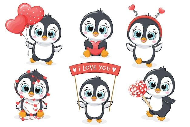 Eine sammlung von sechs niedlichen pinguinen
