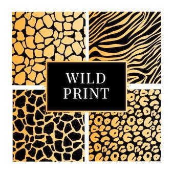 Eine sammlung von vier verschiedenen tier-wildprint-mustern