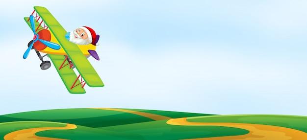 Eine santa reiten flugzeug vorlage