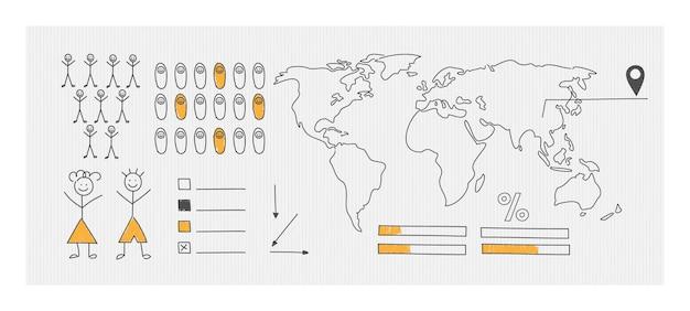Eine schematische weltkarte zur visualisierung von statistiken. handgezeichnete elemente von infografiken.