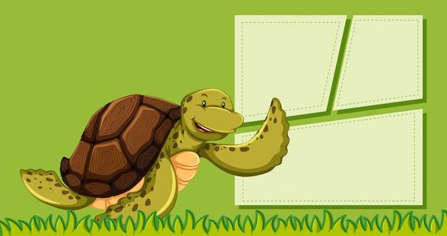 Eine schildkröte auf grüner note
