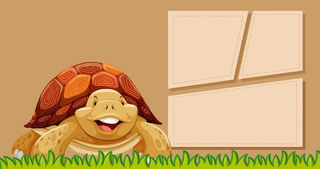 Eine schildkröte auf leere notiz