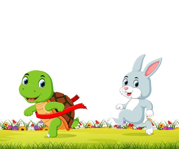 Eine schildkröte gewinnt das rennen gegen einen hasen