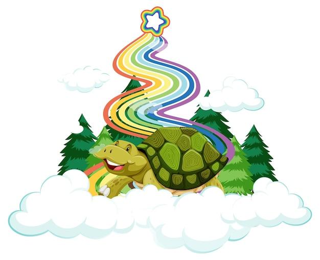 Eine schildkröte sitzt auf der wolke mit regenbogen auf weißem hintergrund