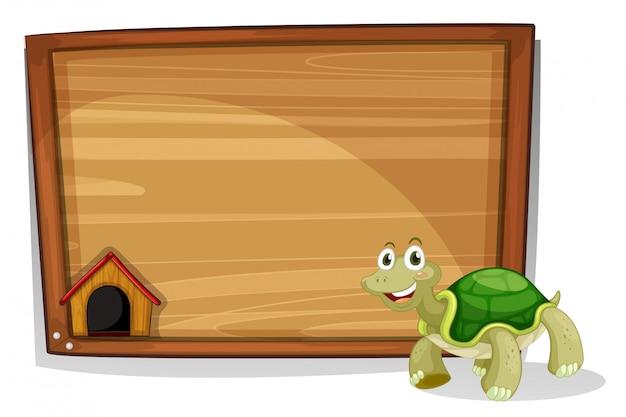 Eine schildkröte vor einem leeren brett