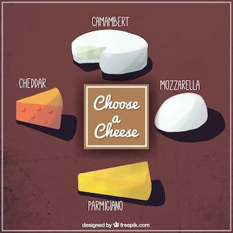 Eine schöne auswahl an käse von hand bemalt