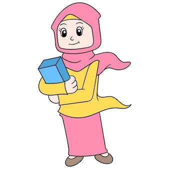 Eine schöne frau, die einen hijab trägt und ein heiliges buch trägt, geht in die moschee, vektorgrafiken. doodle symbolbild kawaii.