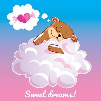 Eine schöne grußkarte mit einem hand gezeichneten bären, der auf der wolke und einer beispieltextnachricht süße träume, illustration schläft