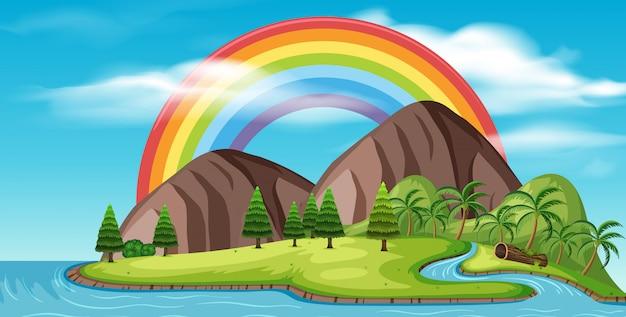 Eine schöne insel und ein regenbogen