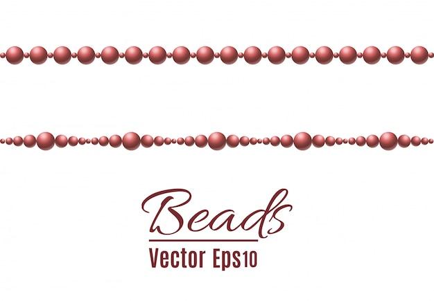 Eine schöne kette von goldener farbe. string perlen sind realistisch isoliert. dekoratives element aus goldperlen. illustration.