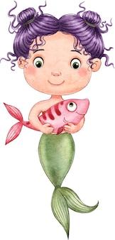 Eine schöne kleine meerjungfrau, die einen fisch in ihren händen hält, gemalt in aquarell auf einem weißen hintergrund