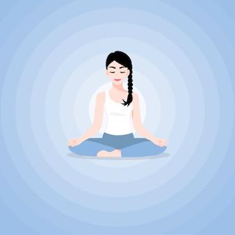 Eine schöne zeichentrickfilm-figur der jungen frau im yogalotos übt meditation. yoga praktizieren. vektor-illustration