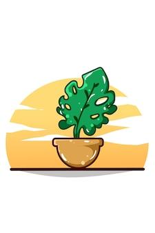Eine schöne zierpflanzenkarikaturillustration