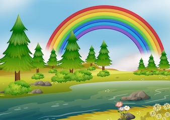 Eine schöne Regenbogen-Fluss-Landschaft
