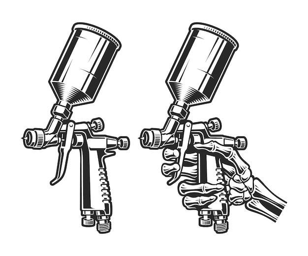 Eine schwarz-weiß-darstellung einer spritzpistole isoliert auf weiß