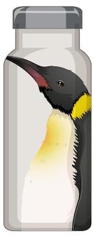 Eine schwarze thermosflasche mit pinguinmuster