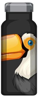 Eine schwarze thermosflasche mit tukan-vogelmuster