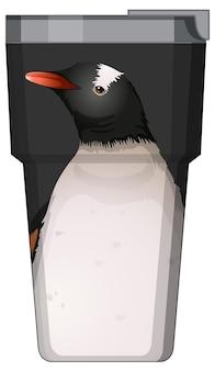 Eine schwarze thermoskanne mit pinguinmuster